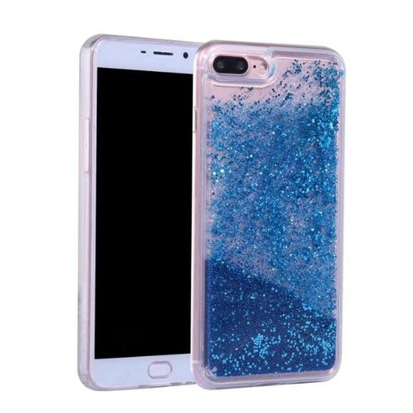 buy popular 4e4d5 c758b iPhone 8 Plus Case Waterfall Glitter Blue TPU